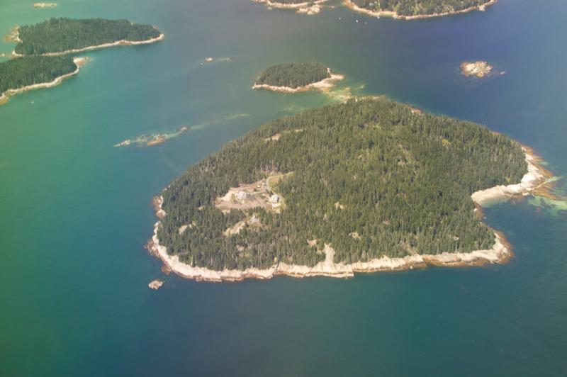 Aerial view of Spruce Island thanks to one of our guests - The only house on a private island - Stonington - rentals