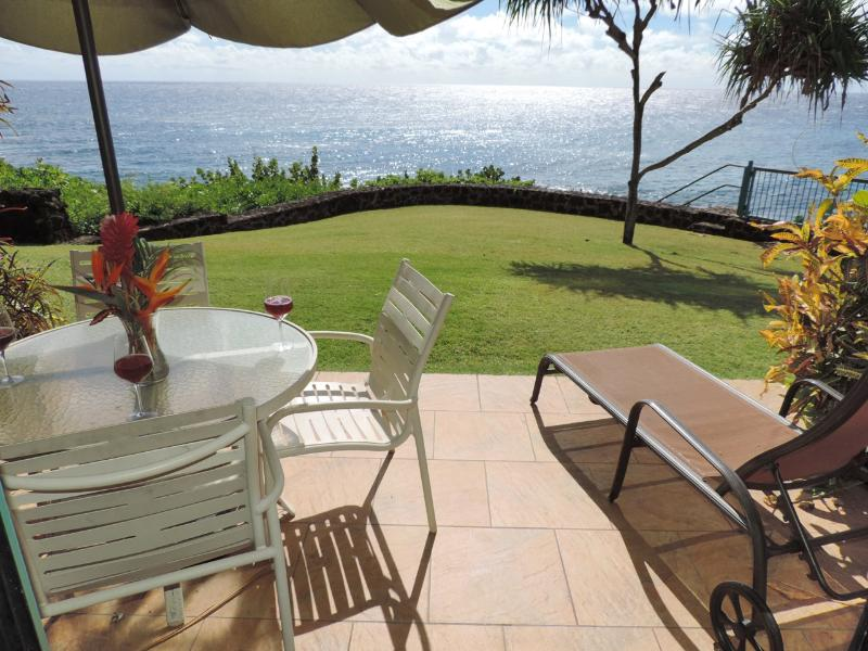 Won't you be enjoying yourself gazing at the Blue Pacific? - Poipu Shores 104C, 2BR OCEANFRONT Large Townhome - Poipu - rentals