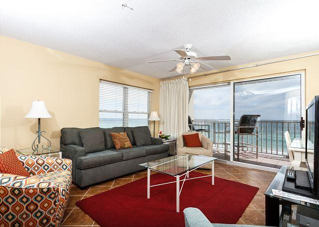 New Living room Furniture as of February 2015! - TP 505: Corner condo - beachfront balcony,pool,BBQ,FREE beach service+snorkel - Fort Walton Beach - rentals