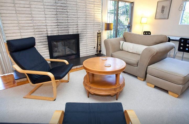 Sitting area - Large studio in Silver Lake with fireplace & deck - Los Angeles - rentals