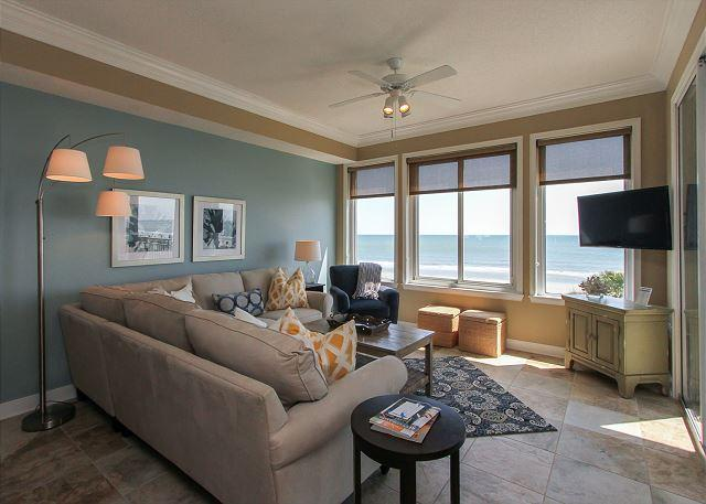 Living Area - 3304 SeaCrest -3rd Floor direct Oceanfront . 7/25 Week Available. - Hilton Head - rentals