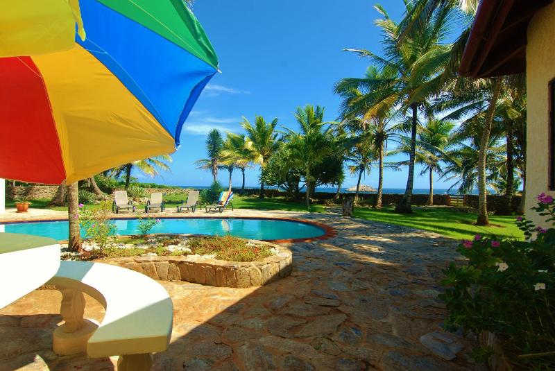 A large table just outside the dining room looks out toward the pool and on to the ocean. - Whale Watch Without Leaving Home! Pool,4 Bedrooms. - Las Galeras - rentals