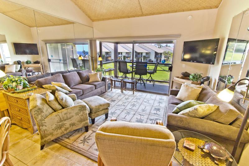 Living room - 2BR Oceanview @ Best S Kihei Beach; Hale Kam 318 - Kihei - rentals