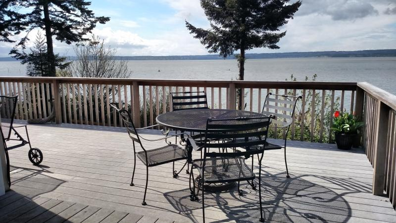 Enjoy the views of Port Susan while relaxing with a drink or eating a meal - WARM BEACH WATERFRONT on PUGET SOUND - Camano Island - rentals