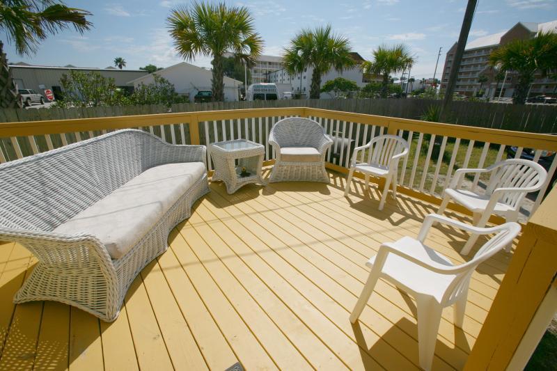 Great deck with ocean breeze. - Three Bedroom Petite Retreat Dog Friendly - Panama City Beach - rentals