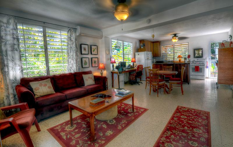 Living Room is a large open space, airy & bright. - Esperanza large 2 bedroom house: CASITA ROSITA - Isla de Vieques - rentals