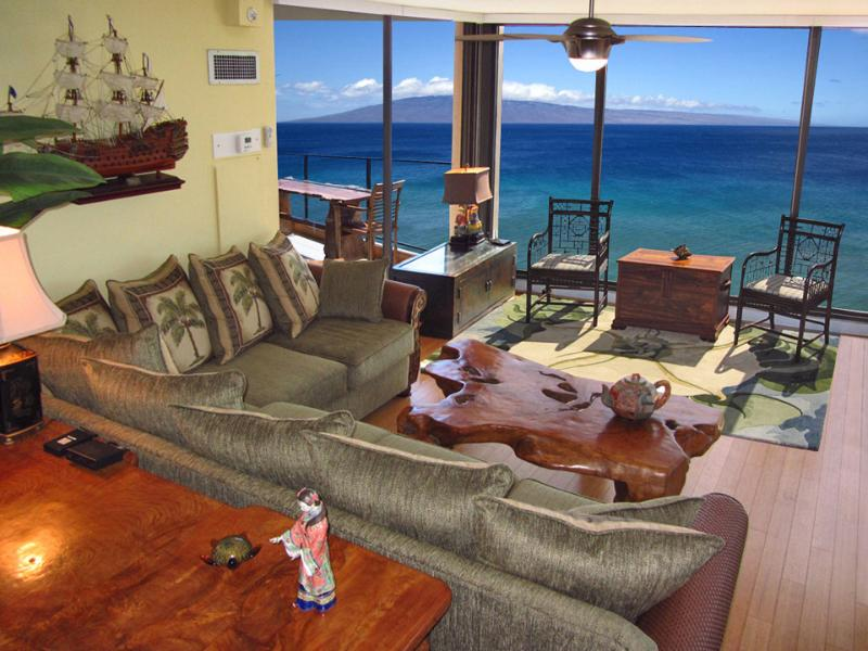 Seating by the incredible wall to wall windows - May 11-15 $199 Mahana Luxury 2 King BR Oceanfront - Lahaina - rentals