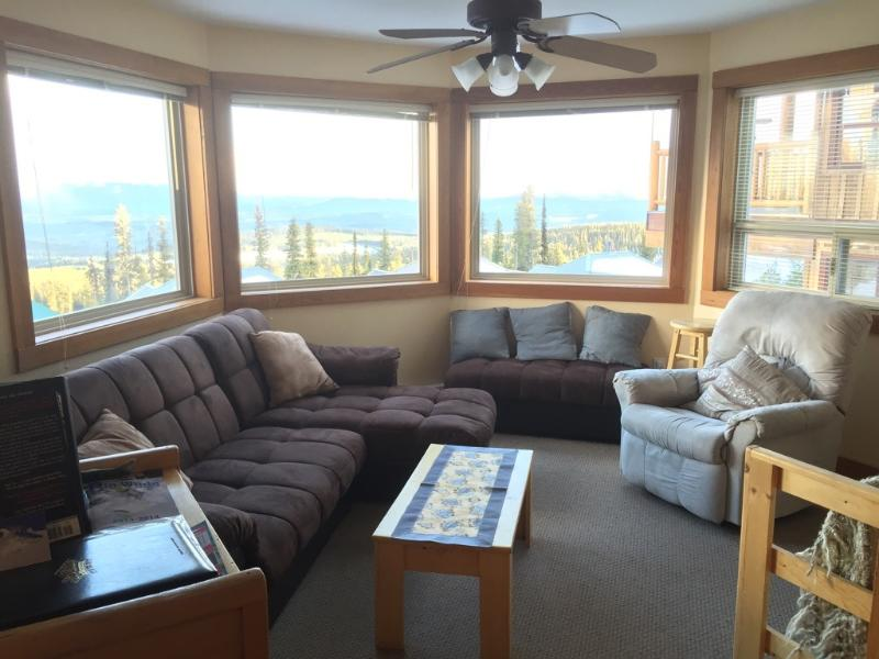 Living Room with Panoramic Views - 5922C Snow Pine Cres.2 Bdrm Chalet Private Hot Tub - Big White - rentals