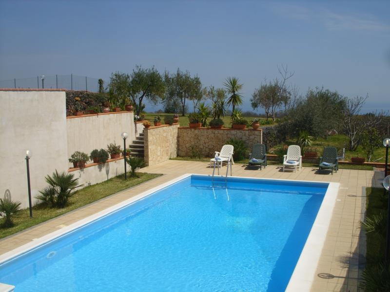 private pool with sun loungers and parasols - Villa A.R. pool, garden,views Etna and  Ionian sea - Acireale - rentals