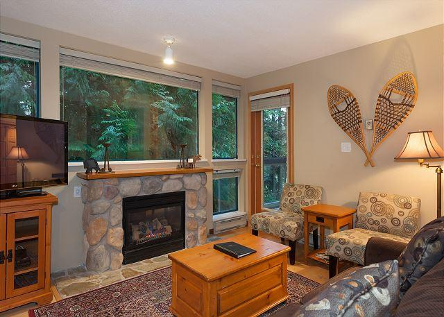 Relax in this Cozy Living Room with Gas Fireplace, Flat Screen T - Greystone #223 | 2 Bedroom Ski-In/Ski-Out to Blackcomb, Shared Hot Tub & Pool - Whistler - rentals