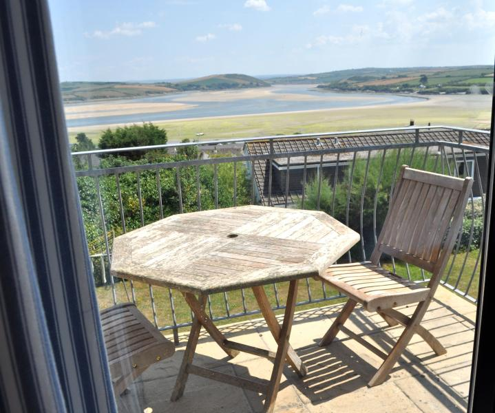 View of sea from main bedroom - 4 bed first fl apt-great views in Padstow Cornwall - Padstow - rentals