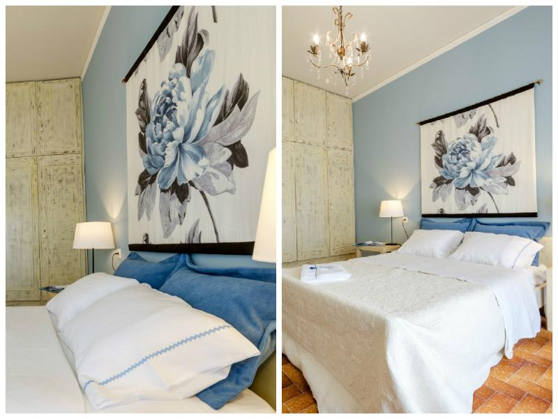 """First bedroom decorated with fabrics from """"Designers Guild - Nautilus  Boutique Apartment - Kouses - rentals"""