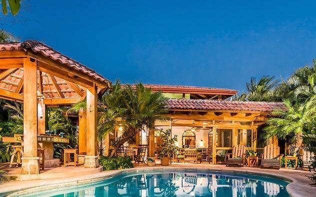 Casa Juliana pool, rancho with BBQ grill, and outdoor terrace great room - Casa Juliana:Beach View Villa, Playa Junquillal - Playa Junquillal - rentals