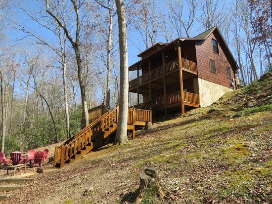 LOWER VIEW OF CABIN - ALPINE LODGE- 3BR/3BA- BEAUTIFUL AND PRIVATE CREEK FRONT CABIN, 5G WIFI, AIR HOCKEY, FOOSBALL, GAME/CARD TABLE, GAS LOG FIREPLACE, HOT TUB, GAS GRILL, FIRE PIT, AND PET FRIENDLY! ONLY $135 A NIGHT! - Blue Ridge - rentals