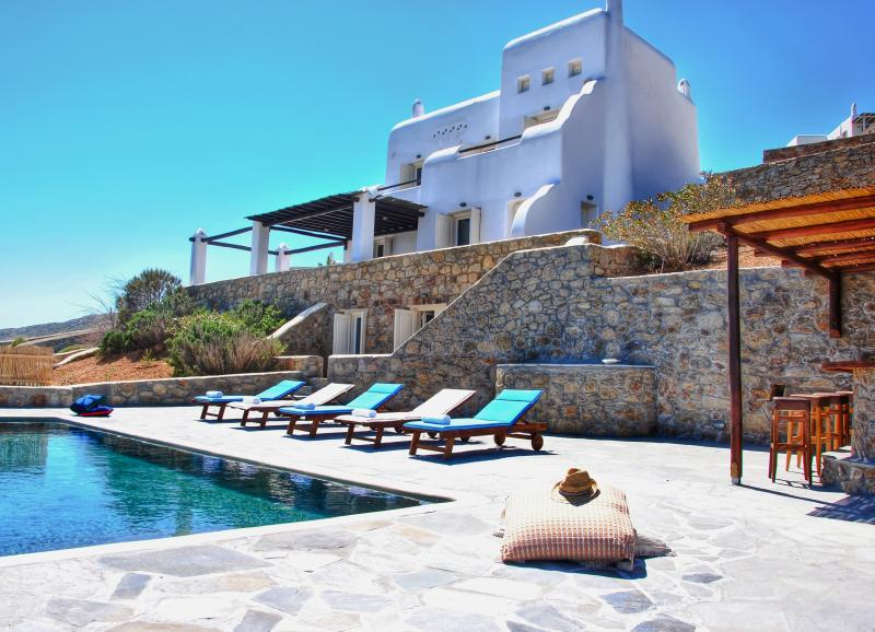 View of the pool and the villa - Relaxing Sea View to the Aegean Sea and Poolbar - Mykonos - rentals