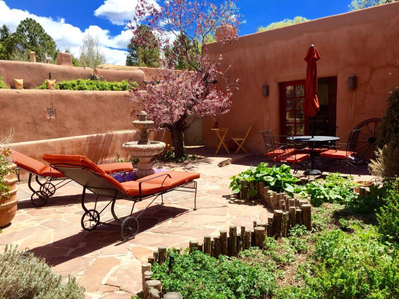 Private patio with dining, chaise lounges, fountain andcBBQ - Luxury,Walk Everywhere, Private Hot , June15%OFF!! - Santa Fe - rentals