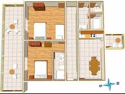 A2(4+2): floor plan - 00513TUCE  A2(4+2) - Tucepi - Tucepi - rentals