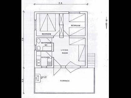 H(4+2): floor plan - 8021  H(4+2) - Supetar - Supetar - rentals