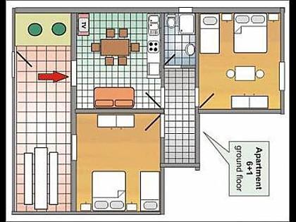 A2(6+1): floor plan - 8134  A2(6+1) - Podgora - Podgora - rentals