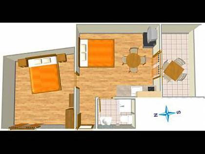 A7(2+2): floor plan - 002A13TUCE  A7(2+2) - Tucepi - Tucepi - rentals