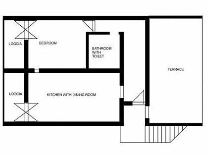 A1(2+2): floor plan - 008SUPE A1(2+2) - Supetar - Supetar - rentals