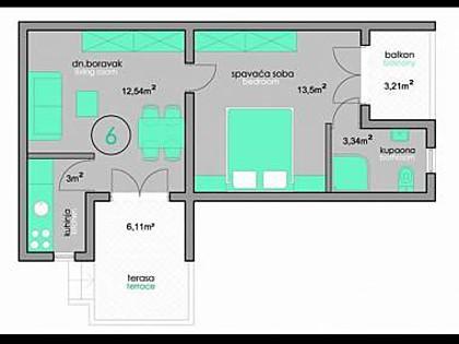 A4(2+2): floor plan - 2719 A4(2+2) - Povljana - Povljana - rentals