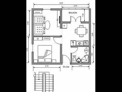 A5(2+2): floor plan - 2842 A5(2+2) - Postira - Postira - rentals
