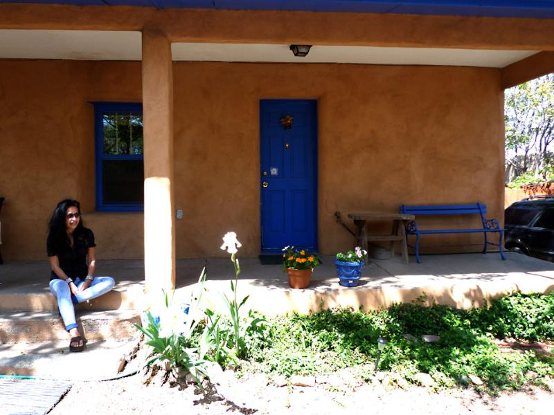 Front porch with guest - Stay In An Historic Adobe For Less! - Santa Fe - rentals
