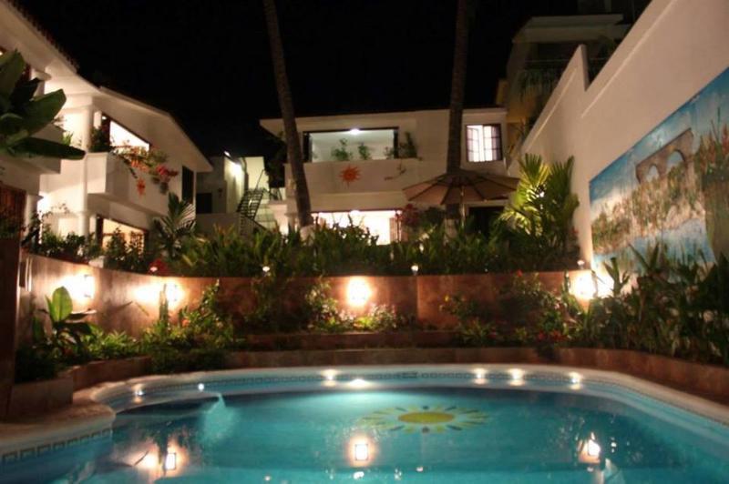 Nighttime around the pool - Villas Del Sol 2 BR 2Ba Villas or 15 BR / 29 Ba - Bucerias - rentals