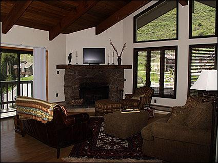 Living Area with Large Windows, Flat TV, Wood Fireplace, Views - Affordable West Vail Condo - Mountain Views (2323) - Vail - rentals