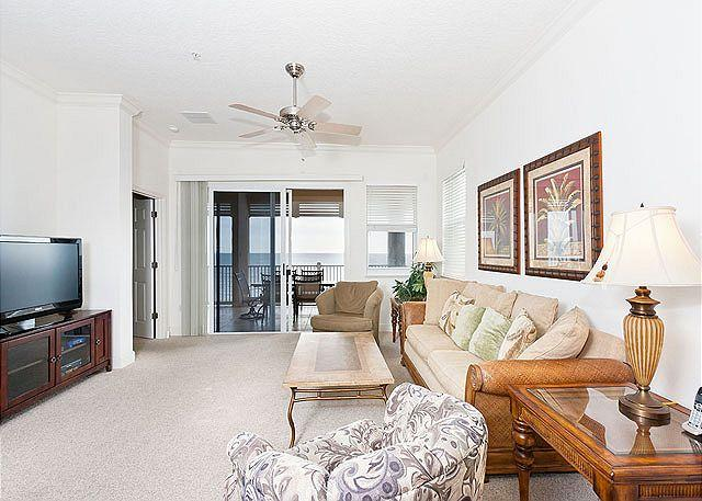 Stretch out in the bright and open living room - Cinnamon Beach 655, 5th Floor Beach Front Corner Condo with Huge HDTV, Wifi - Palm Coast - rentals