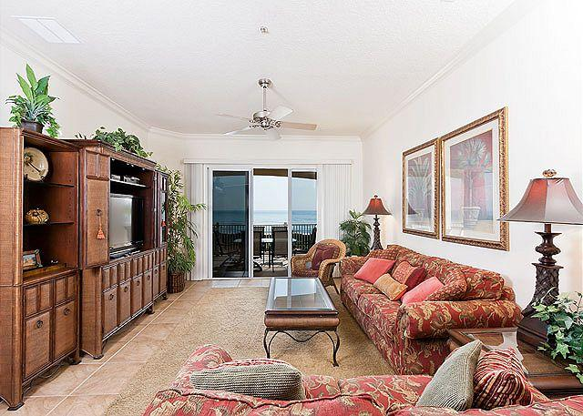 Our comfortable living room will be a gathering place - Cinnamon Beach 734, 3rd Floor Oceanfront, 3 Bedrooms, HDTV, 2 Pools Spa, Wifi - Palm Coast - rentals