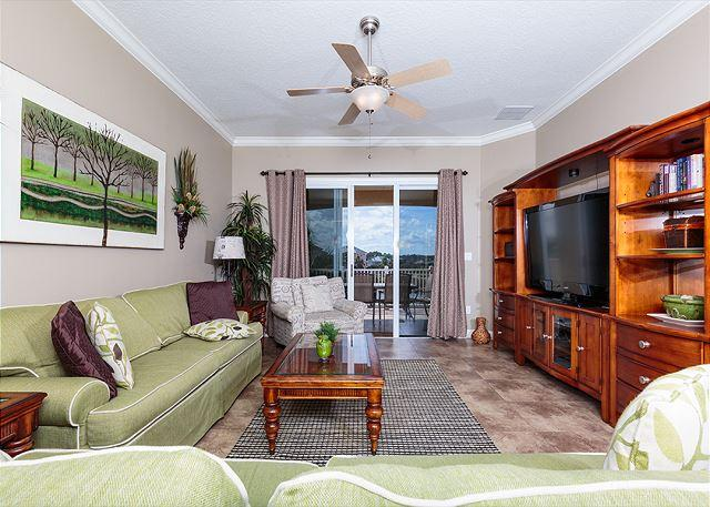 Our spacious, comfy living room is just right for gathering - Cinnamon Beach 932, 3 Bedrooms, sleeps 9, HDTV, Wifi, 2 heated pools, spa - Palm Coast - rentals