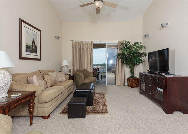 Living Room - Cinnamon Beach 962 Penthouse, 6th Floor, 2 Pools, New Furniture, HDTV, Wifi - Palm Coast - rentals