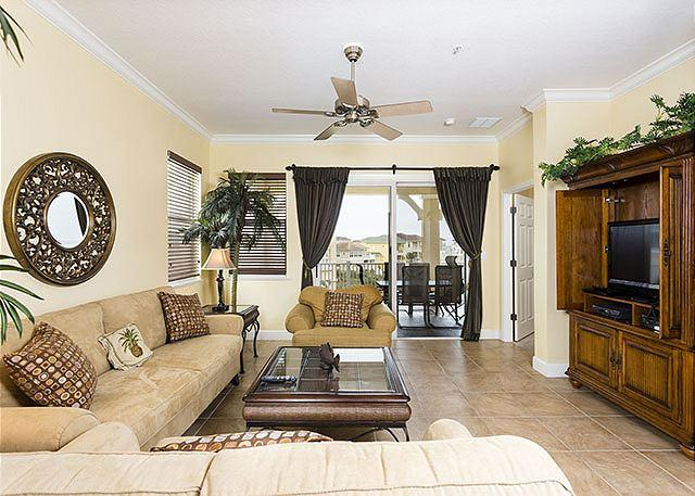 Living room is bright and sunny - 241 Cinnamon Beach Ocean Views, 4th Floor Corner, Ocean Views, HDTV, Wifi - Palm Coast - rentals