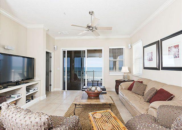 Enjoy ocean views and our HDTV - Cinnamon Beach 755, 5th Floor Ocean Front, Corner Unit, Tile, Huge HDTV, Wifi - Palm Coast - rentals