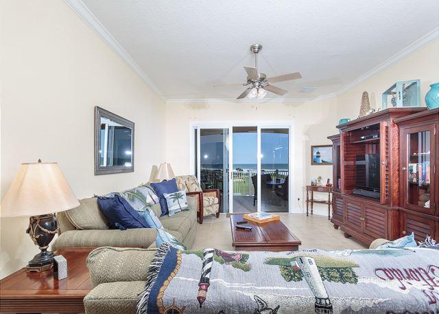 Our beautiful living room welcomes you - 442 Cinnamon Beach, 4th Floor, Elevator, 2 Pools, Sweeping Ocean Views, Wifi - Palm Coast - rentals