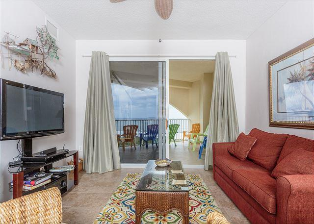 Unwind and settle into our luxury living room with HDTV - Surf Club I 1605, beachfront 6th floor, 3 pools, tennis, wifi - new HDTV - Palm Coast - rentals