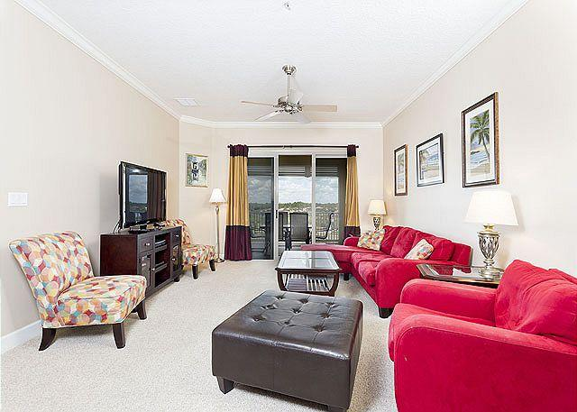 Our living room is full of jazzy style and great views! - Cinnamon Beach 954, just renovated, huge HDTV, 5th floor, elevator, 2 pools - Palm Coast - rentals