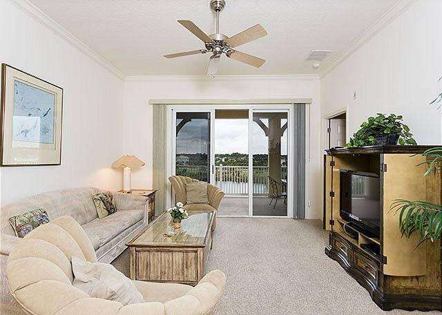 Settle into our stylish, comfy living room and enjoy the views - 943 Cinnamon Beach, Resort, 4th Floor, 2 Pools, Elevator, Wifi - Palm Coast - rentals