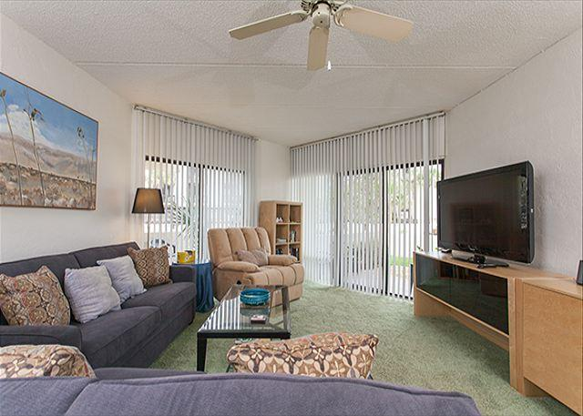 Our brand new furnished living room is ready with HDTV! - Island House H 119 Ground Floor Unit, new HDTV, Pool, Tennis, St Augustine FL - Saint Augustine - rentals