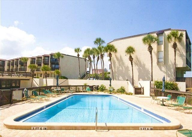Enjoy our club pool beneath the swaying palms! - Island House E 225 Ocean View Rentals with Pool, St Augustine Beach Florida - Saint Augustine - rentals