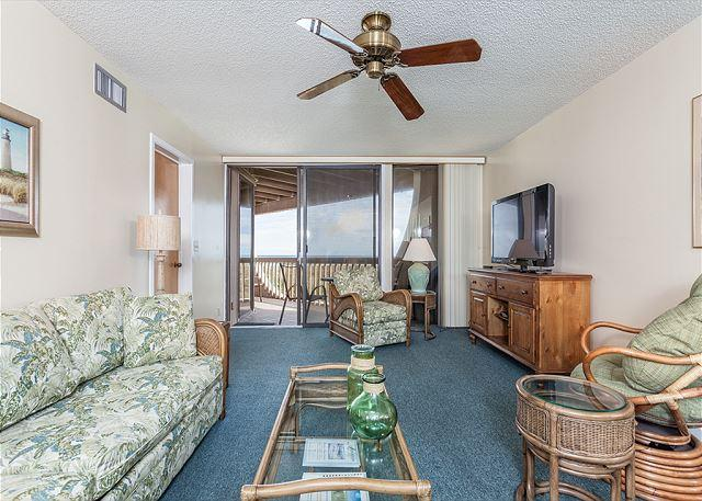 The living room keeps the ocean within clear sight! - Hibiscus 203-A Ocean Front, 2nd Floor Unit, 3 pools, - Saint Augustine - rentals