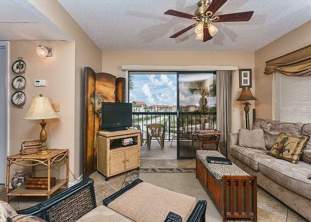 A view of our beautifully furnished living room at Ocean Village - Ocean Village Club D23, 2nd Floor, End Unit, 2 pools (1 heated) - Saint Augustine - rentals