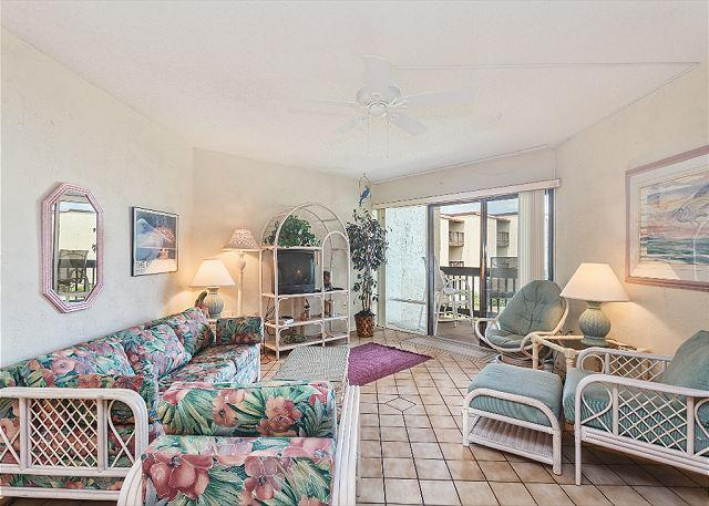 The bright and sunny living room has cool tile floors - Island House F 229 Ocean View Rentals St Augustine Florida - Saint Augustine - rentals
