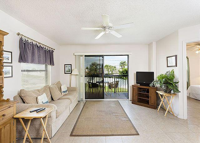 Sit back and relax in our utlra-comfy living room! - Ocean Village Club I21, 2nd Floor unit, Elevator, 2 pools, tennis - Saint Augustine - rentals