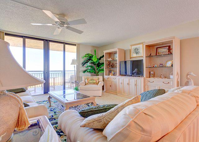 Watch the HDTV or the ocean from our elegant, comfy couches - Barefoot Trace 414, 4th floor, luxury condo, hdtv, elevator, pool - Saint Augustine - rentals