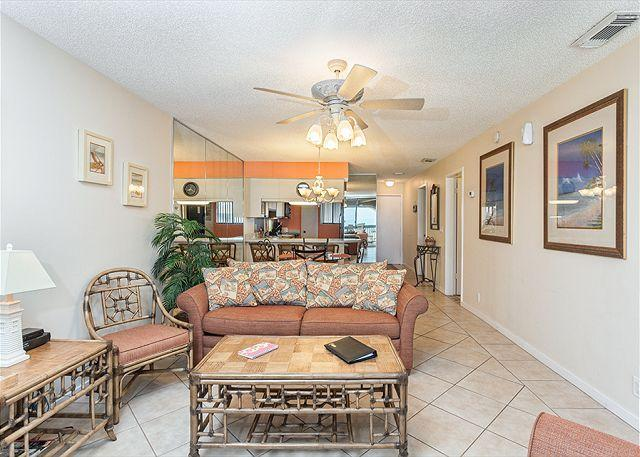 Our living room is the perfect place to relax! - Hibiscus 303-B Beach Front, 3 pools, jacuzzi, grills, tennis, gym, wifi - Saint Augustine - rentals