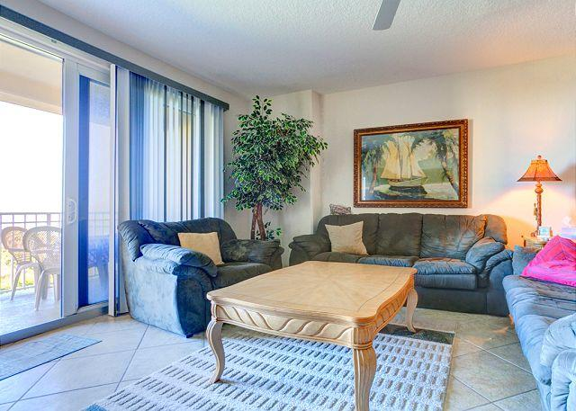 Our beautiful living room features ocean views - Surf Club II 305, Beach Front, Ocean Front Pool, HDTV, 3 pools, hot tub - Palm Coast - rentals