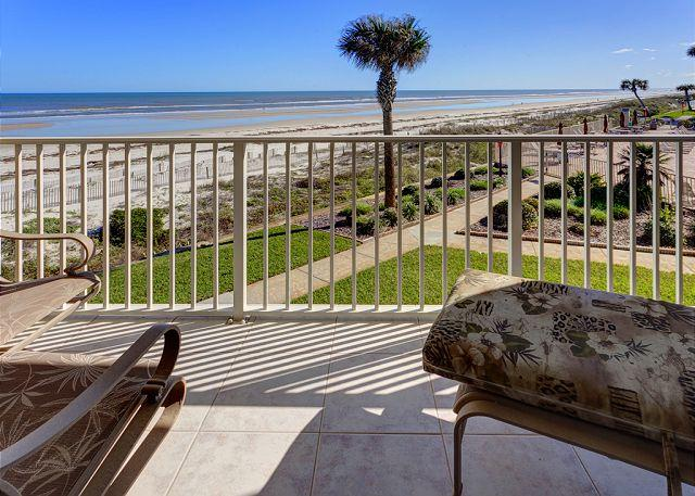 Enjoy sweeping ocean views from our balcony - Coquina A214, Luxury Ocean Front, 2 Pools, Tennis, new HDTV, Corner Unit - Saint Augustine - rentals